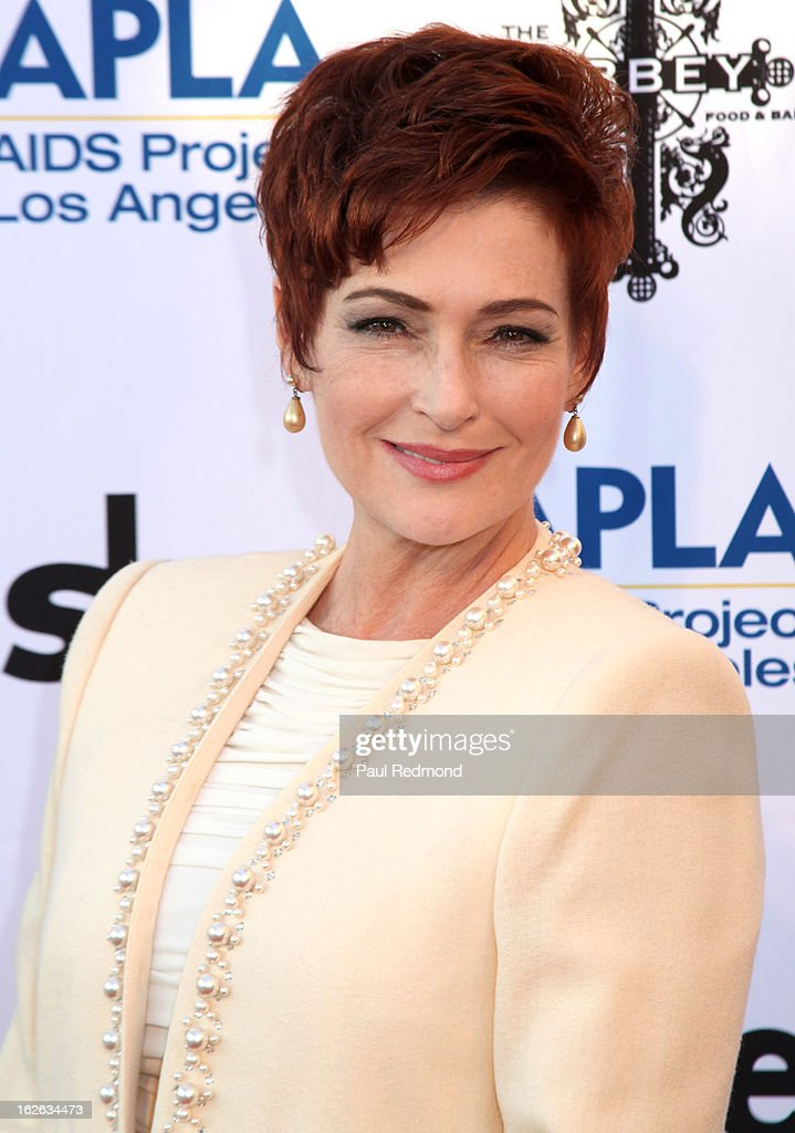 Actress <a gi-track='captionPersonalityLinkClicked' href=/galleries/search?phrase=Carolyn+Hennesy&family=editorial&specificpeople=4583821 ng-click='$event.stopPropagation()'>Carolyn Hennesy</a> arrives at APLA and The Abbey's 12th Annual 'The Envelope Please' Oscar Viewing Party at The Abbey on February 20, 2013 in West Hollwwod, California.