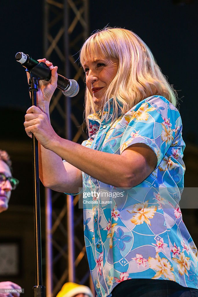 Actress Carolyn Lawrence performs in the 'Spongebob Holiday Extravapants!' stage show at The Grove on November 18, 2012 in Los Angeles, California.