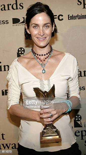 Actress Carrie Anne Moss was honored with the best 'Supporting Actress Award' at the 2002 Independent Spirit Awards March 23 2002 in Santa Monica CA