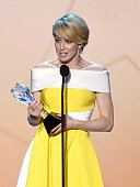 Actress Carrie Coon accepts Best Actress in a Drama Series award for 'The Leftovers' onstage during the 21st Annual Critics' Choice Awards at Barker...