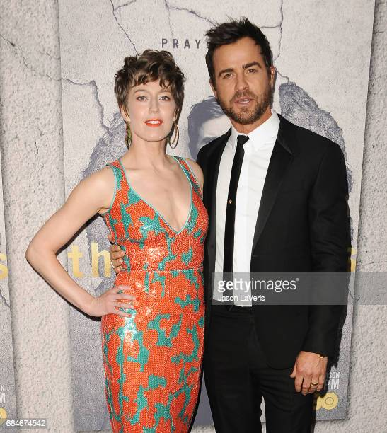 Actress Carrie Coon and actor Justin Theroux attend the season 3 premiere of 'The Leftovers' at Avalon Hollywood on April 4 2017 in Los Angeles...