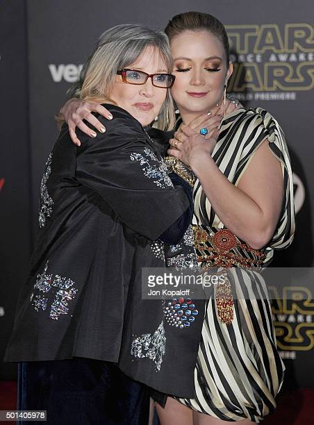 Actress Carrie Fisher and daughter Billie Lourd arrive at the Los Angeles Premiere 'Star Wars The Force Awakens' on December 14 2015 in Hollywood...