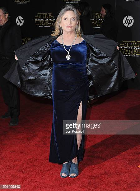 Actress Carrie Fisher arrives at the Los Angeles Premiere 'Star Wars The Force Awakens' on December 14 2015 in Hollywood California
