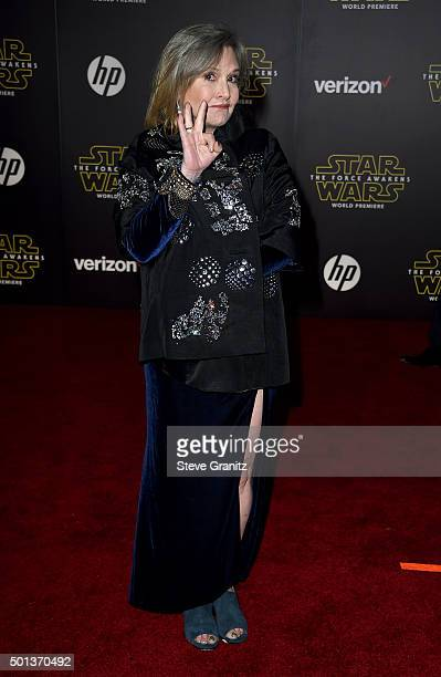 Actress Carrie Fisher arrives at the premiere of Walt Disney Pictures' and Lucasfilm's 'Star Wars The Force Awakens' at the Dolby Theatre TCL Chinese...