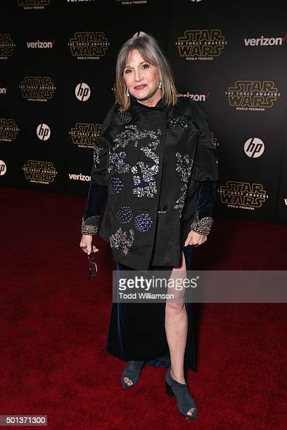 Actress Carrie Fisher attends Premiere of Walt Disney Pictures and Lucasfilm's 'Star Wars The Force Awakens' on December 14 2015 in Hollywood...