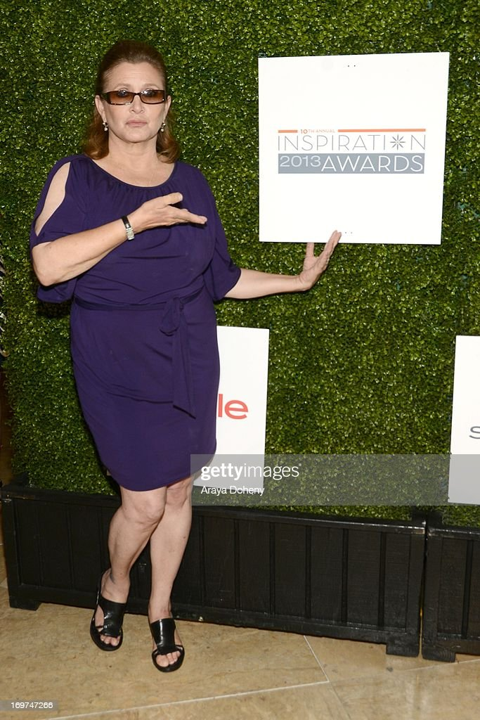Actress <a gi-track='captionPersonalityLinkClicked' href=/galleries/search?phrase=Carrie+Fisher&family=editorial&specificpeople=209183 ng-click='$event.stopPropagation()'>Carrie Fisher</a> attends Step Up Women's Network 10th annual Inspiration Awards at The Beverly Hilton Hotel on May 31, 2013 in Beverly Hills, California.