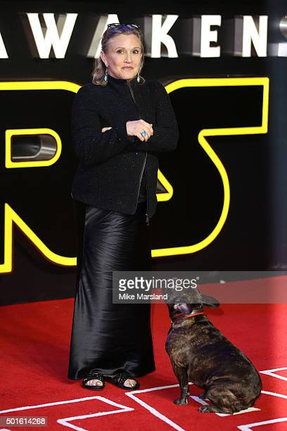 Actress Carrie Fisher attends the European Premiere of 'Star Wars The Force Awakens' at Leicester Square on December 16 2015 in London England