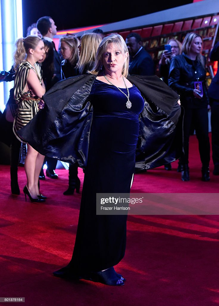 Actress Carrie Fisher attends the premiere of Walt Disney Pictures and Lucasfilm's 'Star Wars The Force Awakens' on December 14th 2015 in Hollywood...