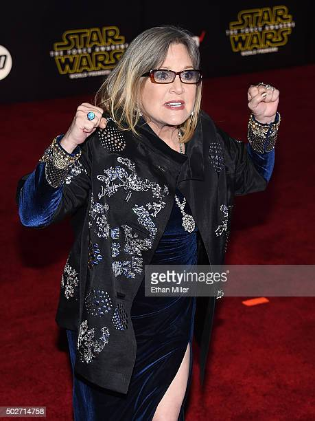 Actress Carrie Fisher attends the premiere of Walt Disney Pictures and Lucasfilm's 'Star Wars The Force Awakens' at the Dolby Theatre on December 14...