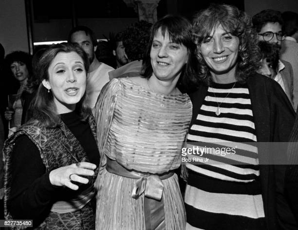 Actress Carrie Fisher Penny Marshall and Judy Belushi attend a showing of 'The Second City' to raise funds for the John Belushi Scholarship Fund...