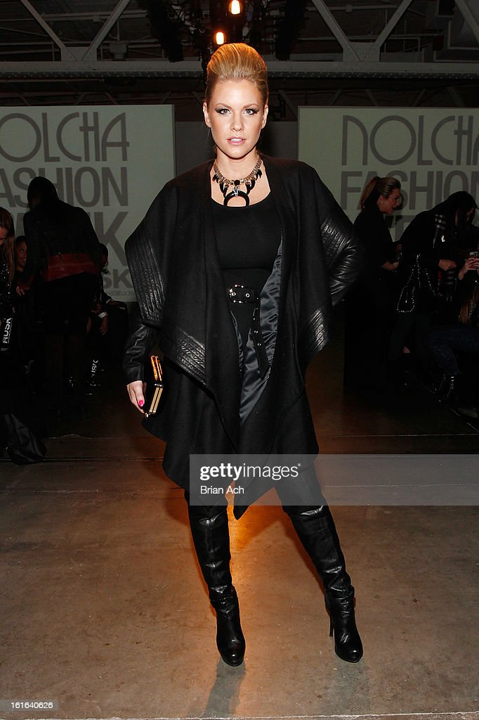 Actress <a gi-track='captionPersonalityLinkClicked' href=/galleries/search?phrase=Carrie+Keagan&family=editorial&specificpeople=2247557 ng-click='$event.stopPropagation()'>Carrie Keagan</a> attends Nolcha Fashion Week New York 2013 presented by RUSK at Pier 59 Studios on February 13, 2013 in New York City.