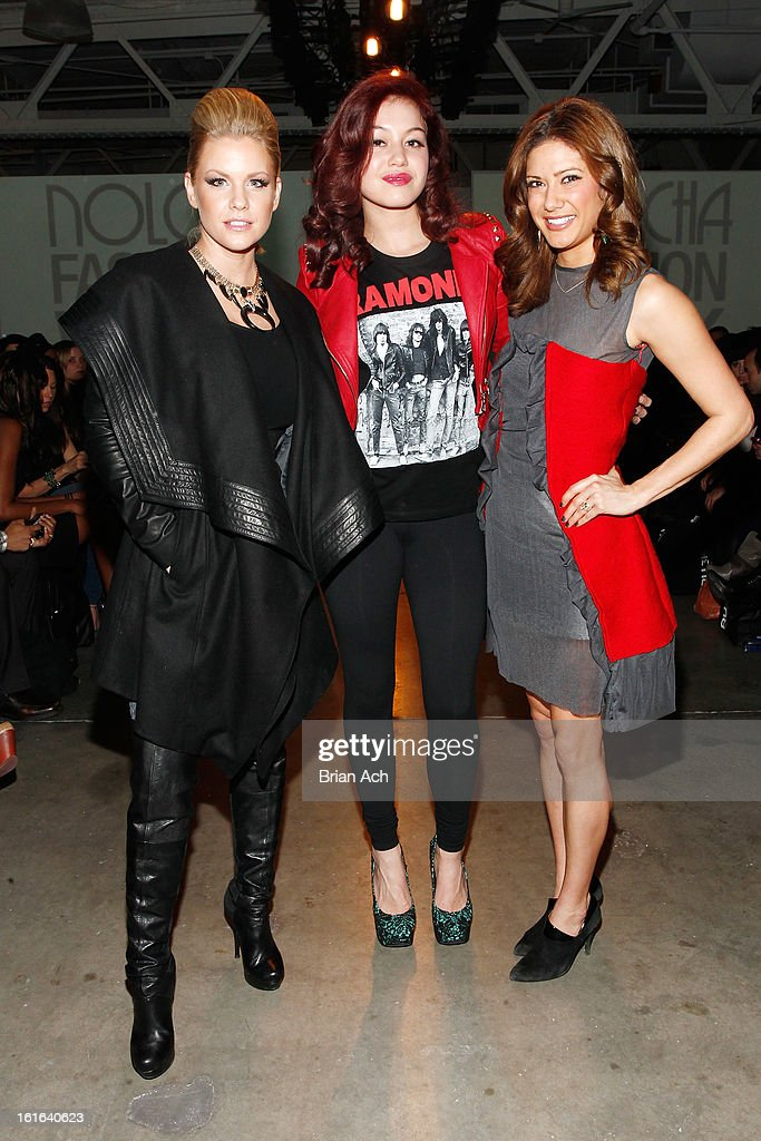 Actress Carrie Keagan, singer Guinevere, and TV personality Kacie Boguskie attend Nolcha Fashion Week New York 2013 presented by RUSK at Pier 59 Studios on February 13, 2013 in New York City.