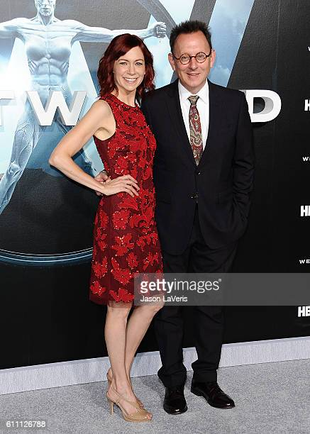 Actress Carrie Preston and actor Michael Emerson attend the premiere of 'Westworld' at TCL Chinese Theatre on September 28 2016 in Hollywood...