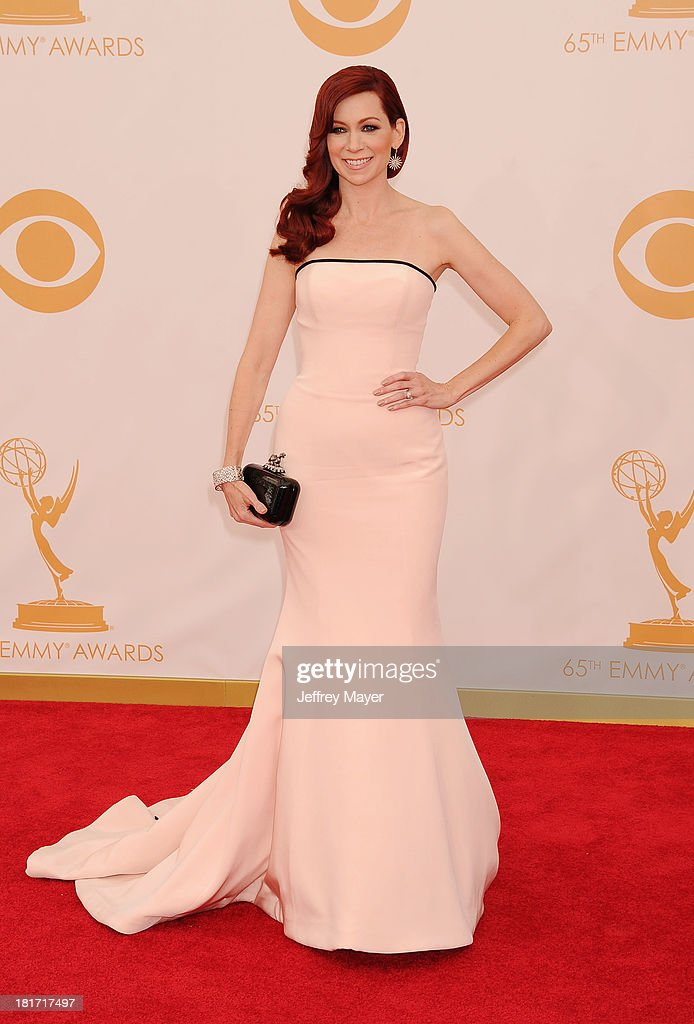 Actress <a gi-track='captionPersonalityLinkClicked' href=/galleries/search?phrase=Carrie+Preston&family=editorial&specificpeople=2220324 ng-click='$event.stopPropagation()'>Carrie Preston</a> arrives at the 65th Annual Primetime Emmy Awards at Nokia Theatre L.A. Live on September 22, 2013 in Los Angeles, California.