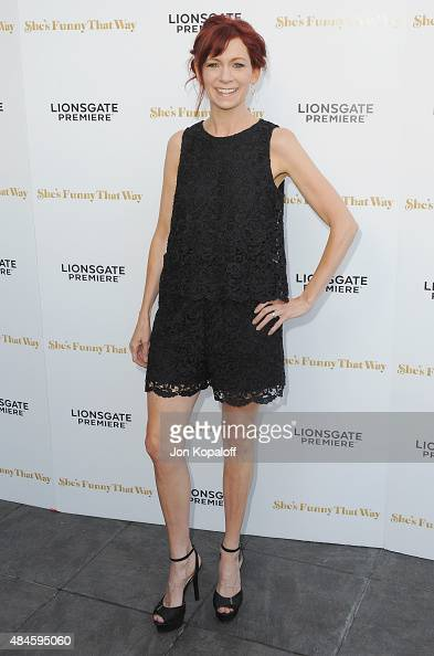 Actress Carrie Preston arrives at the Los Angeles Premiere 'She's Funny That Way' at Harmony Gold on August 19 2015 in Los Angeles California