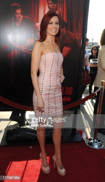 Actress Carrie Preston arrives on the red carpet for HBO's 'True Blood' season 4 premiere at The Dome at Arclight Hollywood on June 21 2011 in...
