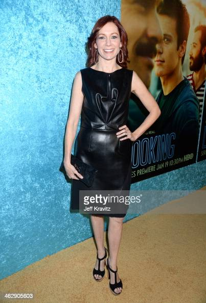 Actress Carrie Preston attends the Los Angeles Premiere for the New HBO Comedy Series 'Looking' at Paramount Studios on January 15 2014 in Hollywood...