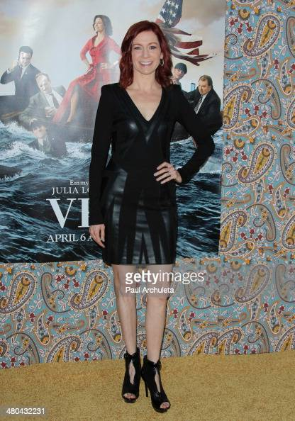Actress Carrie Preston attends the premiere of HBO's 'Veep' season three at Paramount Studios on March 24 2014 in Hollywood California