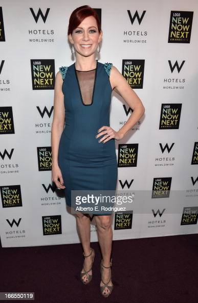 Actress Carrie Preston poses at the W Hotels Backstage Lounge at 2013 Logo NewNowNext Awards at The Fonda Theatre on April 13 2013 in Los Angeles...