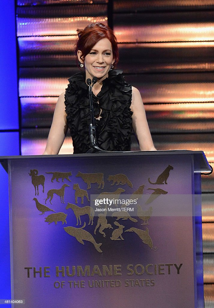 Actress Carrie Preston speaks onstage at the Humane Society of The United States 60th Anniversary Gala at The Beverly Hilton Hotel on March 29, 2014 in Beverly Hills, California.