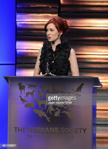 Actress Carrie Preston speaks onstage at the Humane Society of The United States 60th Anniversary Gala at The Beverly Hilton Hotel on March 29 2014...
