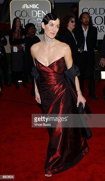 Actress CarrieAnne Moss attends the 59th Annual Golden Globe Awards at the Beverly Hilton Hotel January 20 2002 in Beverly Hills CA
