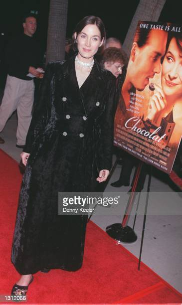 Actress CarrieAnne Moss attends the Los Angeles premiere of 'Chocolat' at The Academy of Motion Picture Arts and Sciences December 11 2000 in Beverly...