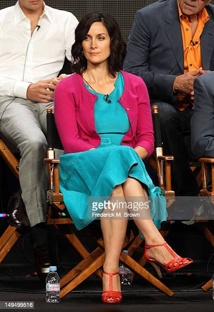 Actress CarrieAnne Moss speaks at the 'Vegas' discussion panel during the CBS portion of the 2012 Summer Television Critics Association tour at the...