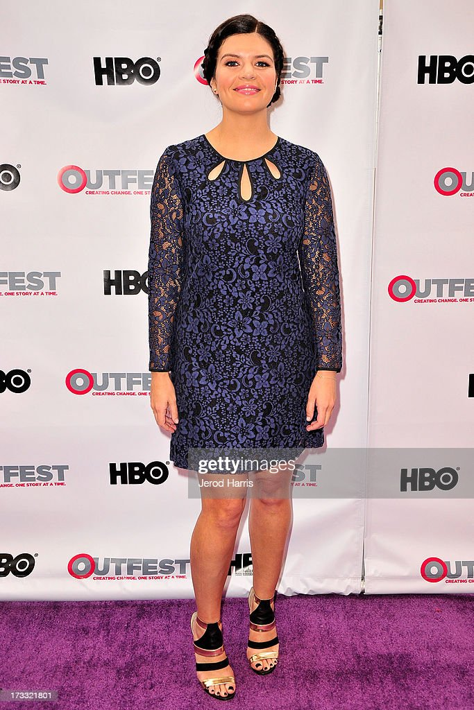 Actress <a gi-track='captionPersonalityLinkClicked' href=/galleries/search?phrase=Casey+Wilson&family=editorial&specificpeople=4980510 ng-click='$event.stopPropagation()'>Casey Wilson</a> (shoe detail) arrives at the Outfest Opening Night Gala of 'C.O.G.' at Orpheum Theatre on July 11, 2013 in Los Angeles, California.