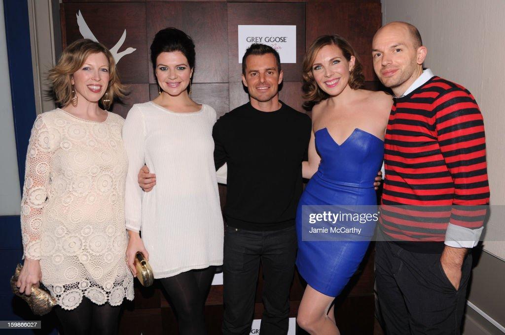 Actress Casey Wilson director Chris Nelson and actors June Diane Raphael and Paul Scheer attend Grey Goose Blue Door 'Ass Backwards' Party on January...