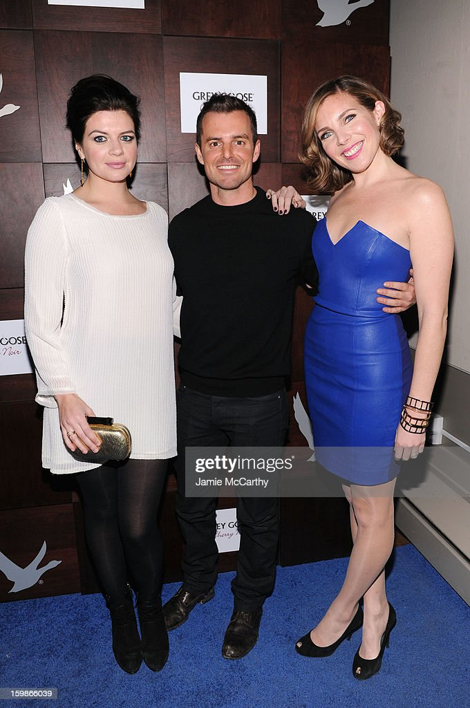 Actress Casey Wilson director Chris Nelson and actress June Diane Raphael attend Grey Goose Blue Door 'Ass Backwards' Party on January 21 2013 in...