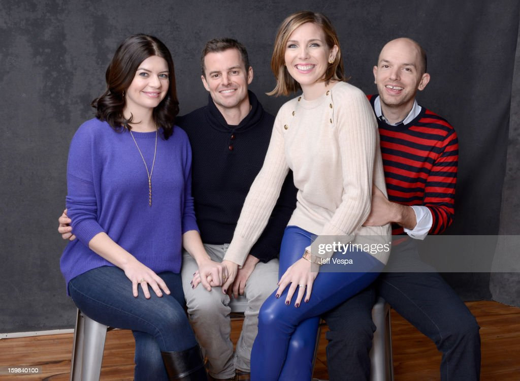 Actress <a gi-track='captionPersonalityLinkClicked' href=/galleries/search?phrase=Casey+Wilson&family=editorial&specificpeople=4980510 ng-click='$event.stopPropagation()'>Casey Wilson</a>, filmmaker Chris Nelson, actress June Diane Raphael, and actor <a gi-track='captionPersonalityLinkClicked' href=/galleries/search?phrase=Paul+Scheer&family=editorial&specificpeople=805513 ng-click='$event.stopPropagation()'>Paul Scheer</a> pose for a portrait during the 2013 Sundance Film Festival at the WireImage Portrait Studio at Village At The Lift on January 21 2013 in Park City, Utah.