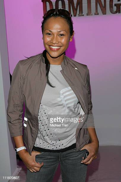 Actress Cassandra Hepburn front row at Joseph Domingo Fall 2008 collection during Mercedes Benz LA Fashion Week held at Smashbox Studios on March 10...