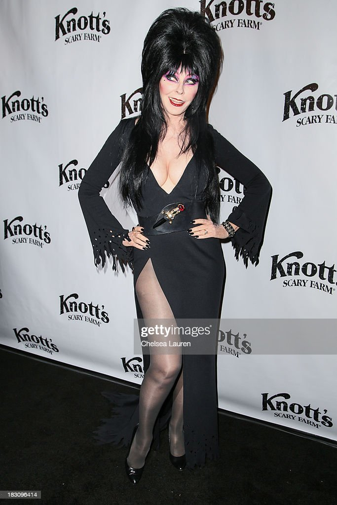 Actress Cassandra Peterson a.k.a Elvira attends the Knott's Scary Farm 'Haunt' VIP Opening Night Party at Knott's Berry Farm on October 3, 2013 in Buena Park, California.