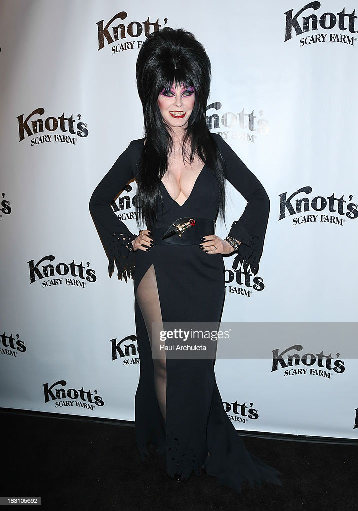 Actress Cassandra Peterson AKA Elvira attends the VIP opening of Knott's Scary Farm HAUNT at Knott's Berry Farm on October 3, 2013 in Buena Park, California.