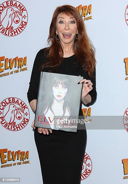 Actress Cassandra Peterson hosts a launch party for her new book 'Elvira Mistress Of The Dark' at The Hollywood Roosevelt Hotel on October 18 2016 in...