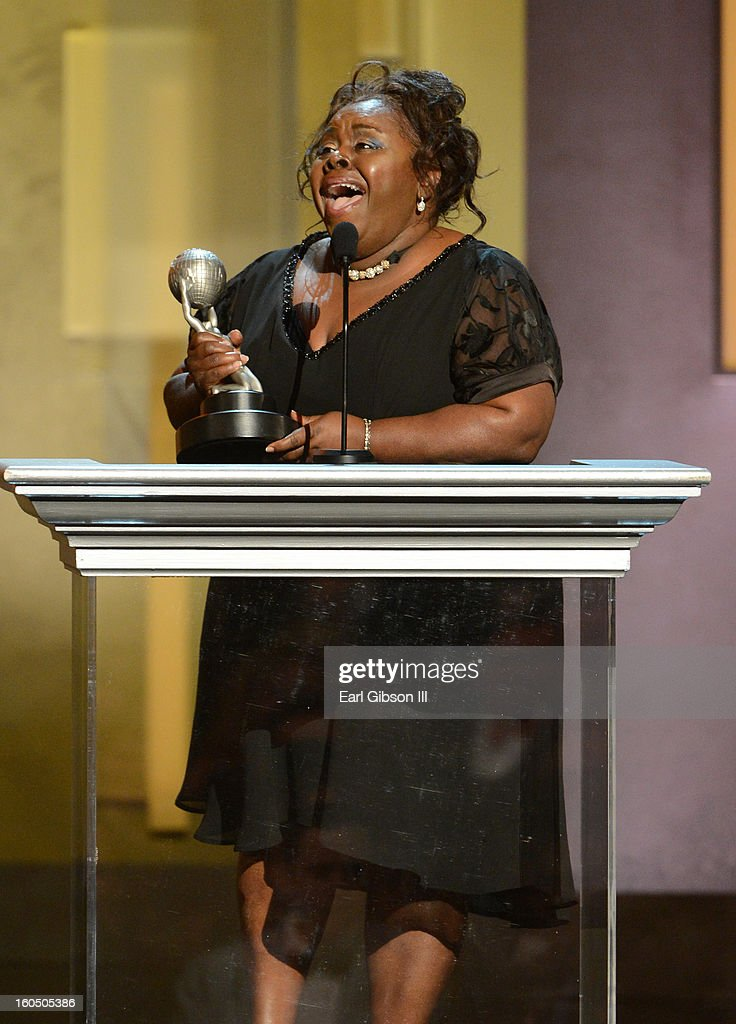 Actress Cassi Davis accepts Outstanding Actress in a Comedy Series for 'Tyler Perry's House of Payne' onstage during the 44th NAACP Image Awards at The Shrine Auditorium on February 1, 2013 in Los Angeles, California.