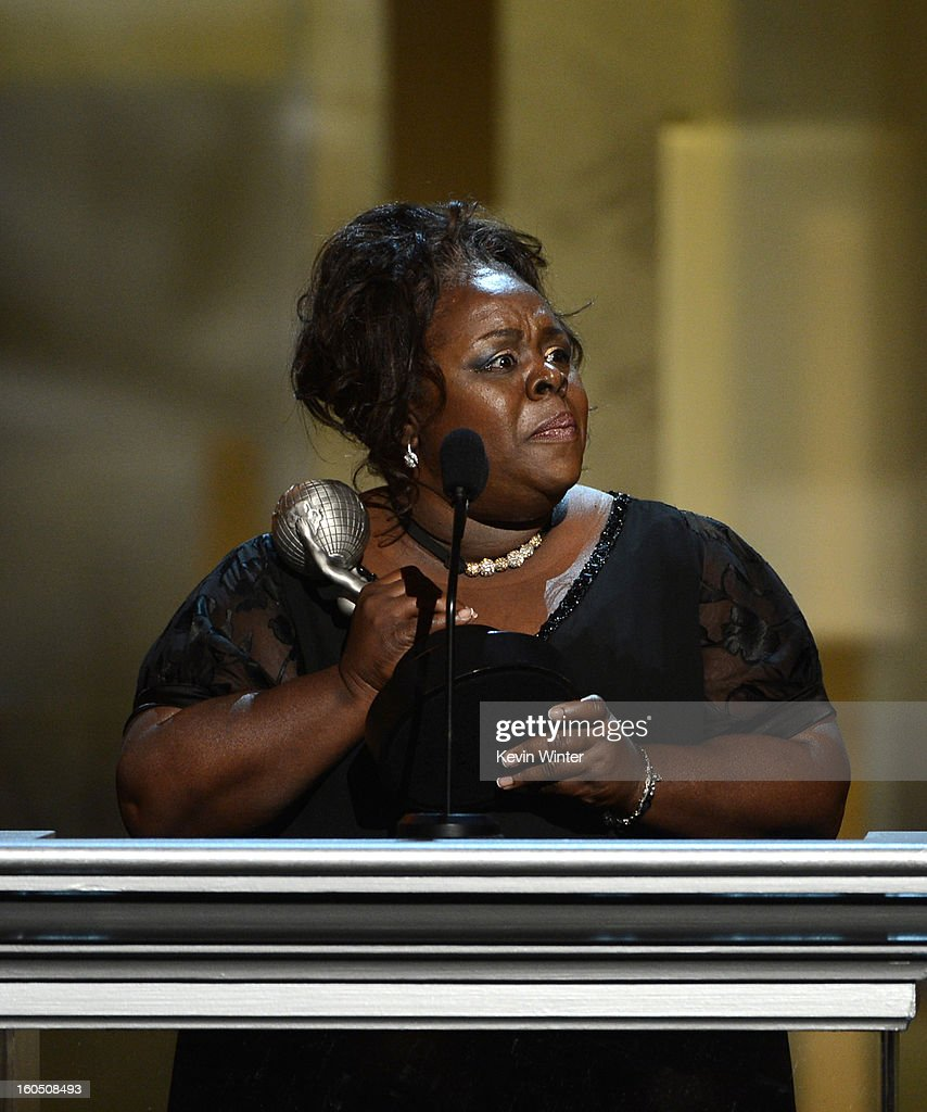 Actress Cassi Davis accepts Outstanding Actress in a Comedy Series award for 'Tyler Perry's House of Payne' onstage during the 44th NAACP Image Awards at The Shrine Auditorium on February 1, 2013 in Los Angeles, California.