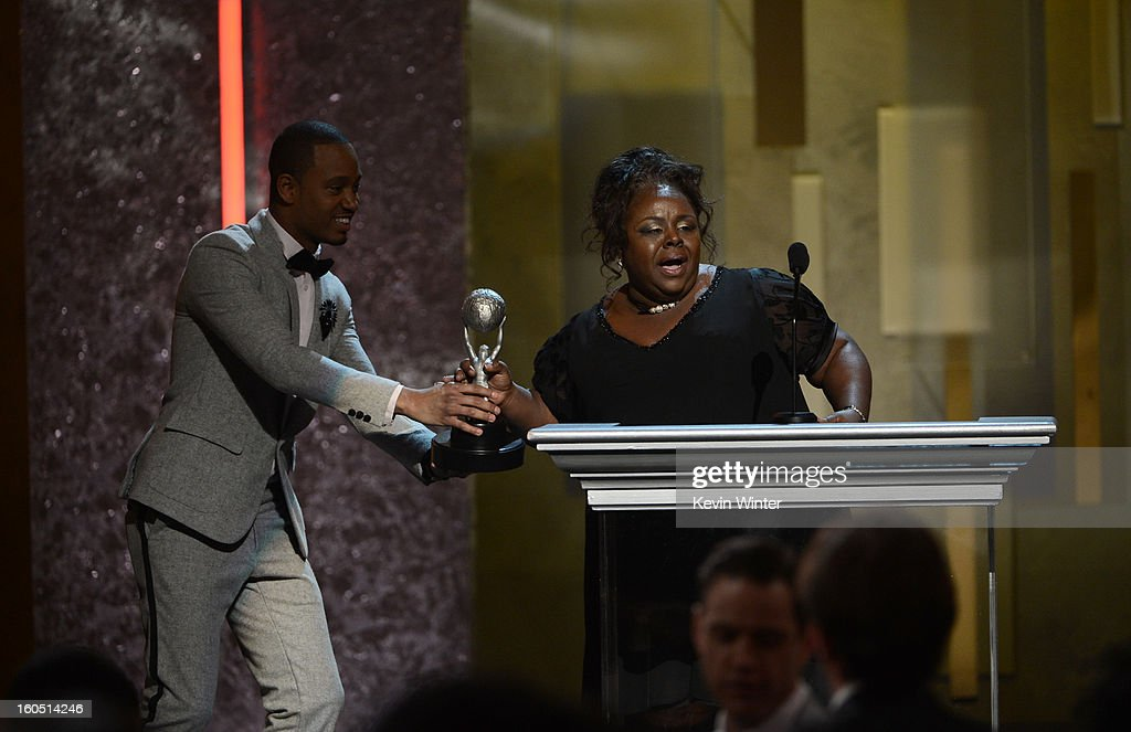 Actress Cassi Davis (R) accepts Outstanding Actress in a Comedy Series award for 'Tyler Perry's House of Payne' onstage during the 44th NAACP Image Awards at The Shrine Auditorium on February 1, 2013 in Los Angeles, California.