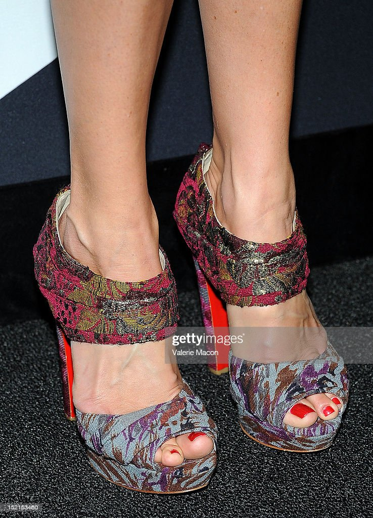 Actress Cat Deeley (shoe detail) arrives at Audi And Derek Lam Kick Off Emmy Week 2012 party at Cecconi's Restaurant on September 16, 2012 in Los Angeles, California.