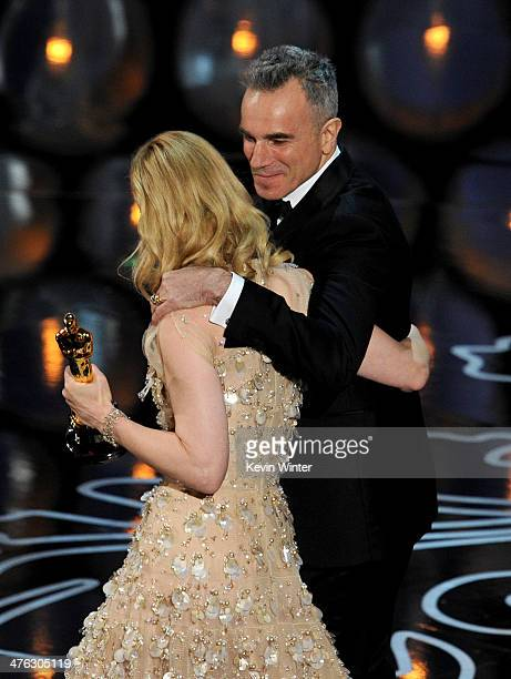 Actress Cate Blanchett accepts the Best Performance by an Actress in a Leading Role award for 'Blue Jasmine' from actor Daniel DayLewis onstage...