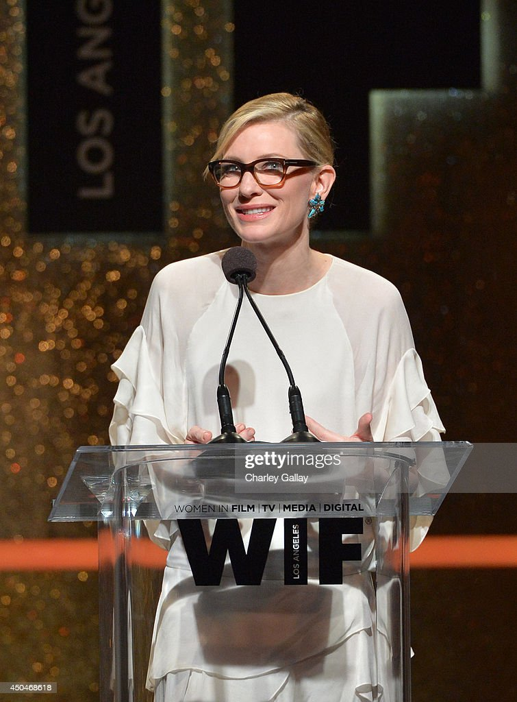 Actress Cate Blanchett accepts the Crystal Award for Excellence in Film onstage at Women In Film 2014 Crystal + Lucy Awards presented by MaxMara, BMW, Perrier-Jouet and South Coast Plaza held at the Hyatt Regency Century Plaza on June 11, 2014 in Los Angeles, California.