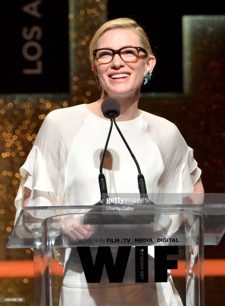 Actress <a gi-track='captionPersonalityLinkClicked' href=/galleries/search?phrase=Cate+Blanchett&family=editorial&specificpeople=201621 ng-click='$event.stopPropagation()'>Cate Blanchett</a> accepts the Crystal Award for Excellence in Film onstage at Women In Film 2014 Crystal + Lucy Awards presented by MaxMara, BMW, Perrier-Jouet and South Coast Plaza held at the Hyatt Regency Century Plaza on June 11, 2014 in Los Angeles, California.