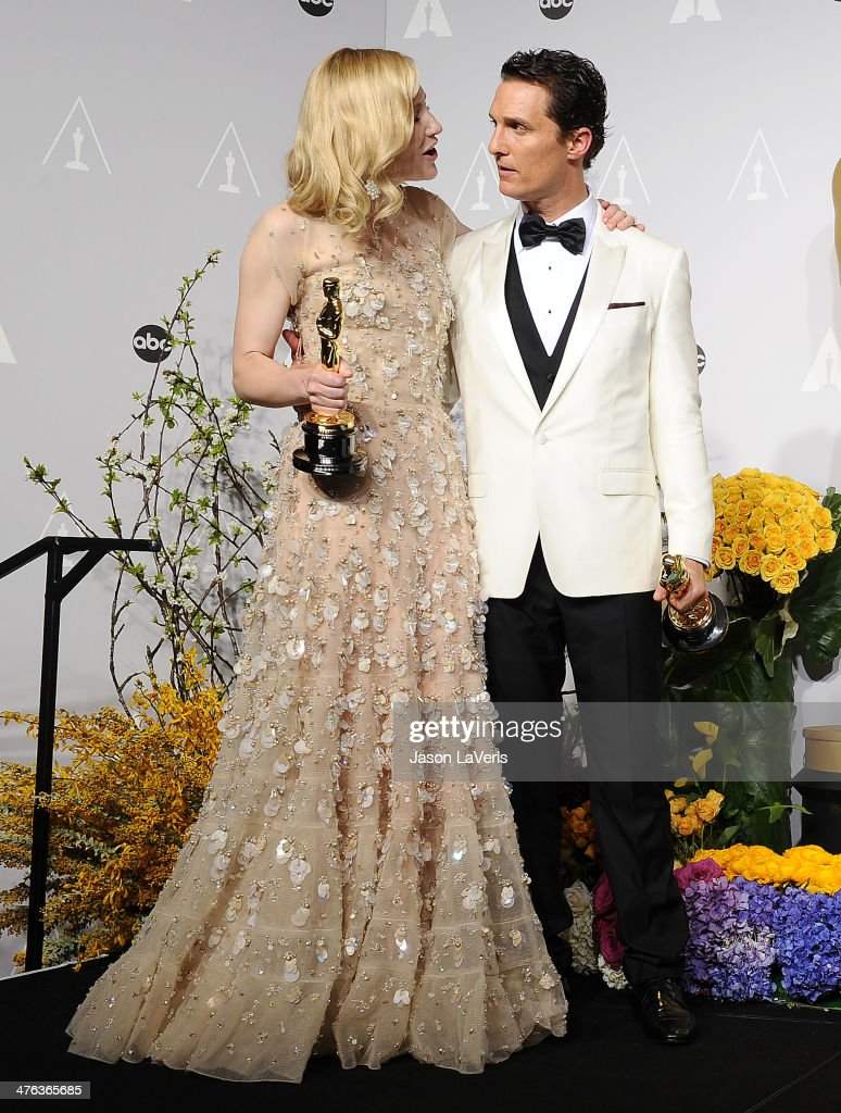 Actress Cate Blanchett and actor Jared Leto pose in the press room at the 86th annual Academy Awards at Dolby Theatre on March 2, 2014 in Hollywood, California.