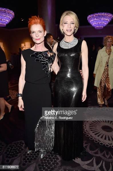 Actress Cate Blanchett and costume designer Sandy Powell attend the 18th Costume Designers Guild Awards with Presenting Sponsor LACOSTE at The...