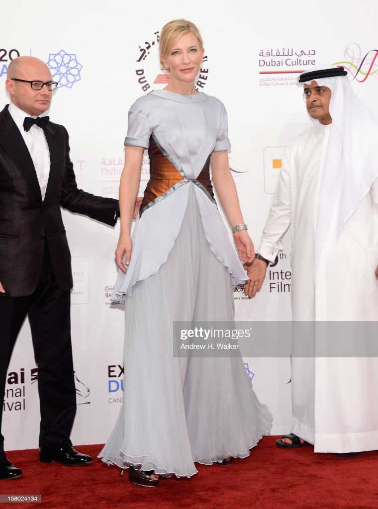 Actress <a gi-track='captionPersonalityLinkClicked' href=/galleries/search?phrase=Cate+Blanchett&family=editorial&specificpeople=201621 ng-click='$event.stopPropagation()'>Cate Blanchett</a> and DIFF Chairman Abdulhamid Juma (R) attend the 'Life of PI' Opening Gala during day one of the 9th Annual Dubai International Film Festival held at the Madinat Jumeriah Complex on December 9, 2012 in Dubai, United Arab Emirates.