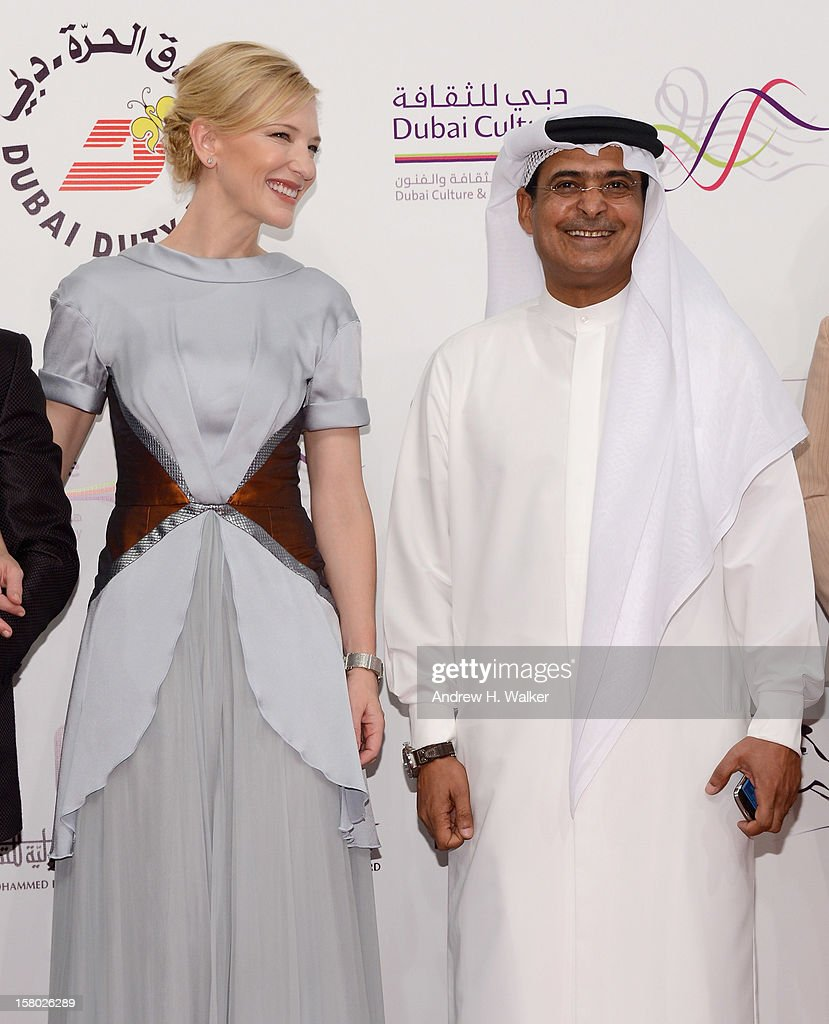 Actress Cate Blanchett and DIFF Chairman Abdulhamid Juma attend the 'Life of PI' Opening Gala during day one of the 9th Annual Dubai International Film Festival held at the Madinat Jumeriah Complex on December 9, 2012 in Dubai, United Arab Emirates.