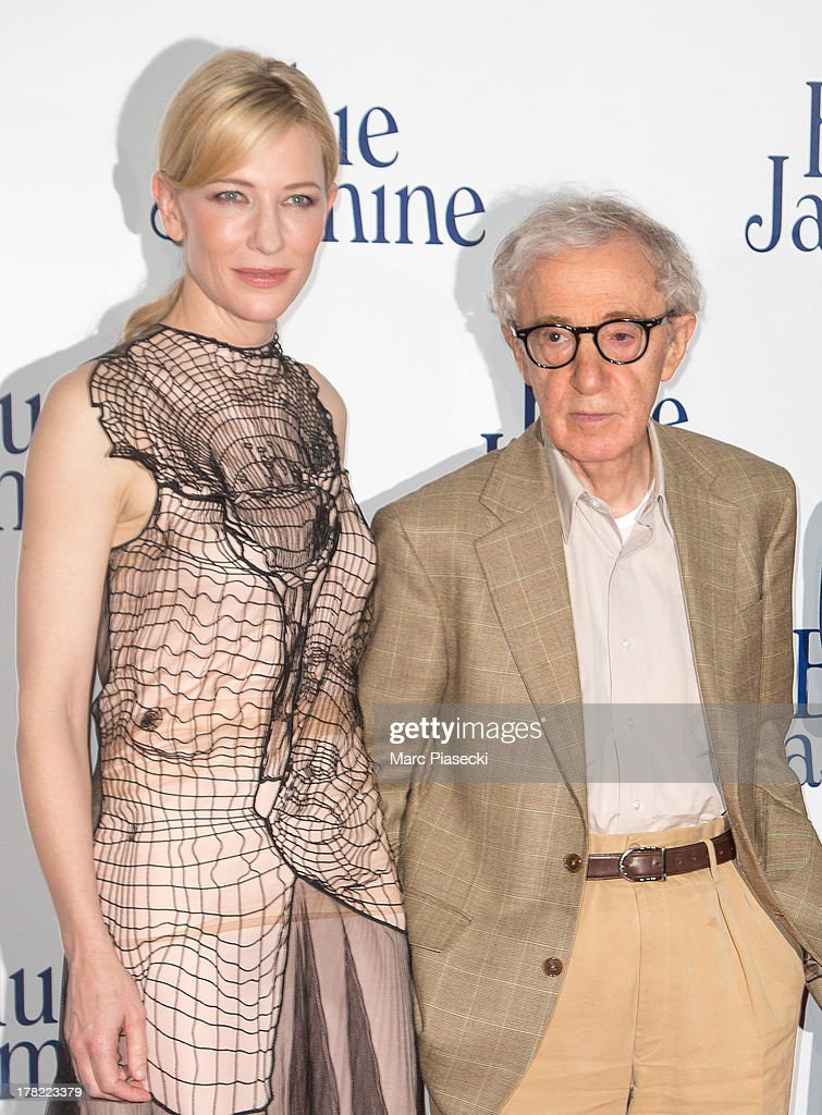 Actress Cate Blanchett and director Woody Allen attend the 'Blue Jasmine' Paris premiere at UGC Cine Cite Bercy on August 27, 2013 in Paris, France.