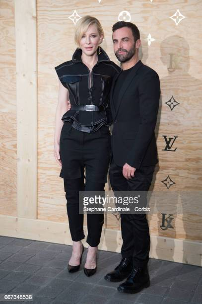 Actress Cate Blanchett and Fashion designer Nicolas Ghesquiere attend the Louis Vuitton's Dinner for the Launch of Bags by Artist Jeff Koons at Musee...