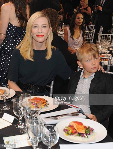 Actress Cate Blanchett and her son Ignatius Martin Upton with Napa Valley Vintners And Sapporo during the 19th Annual Critics' Choice Movie Awards at...